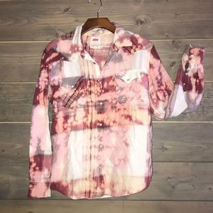 Custom bleached & distressed Levi's flannel shirt